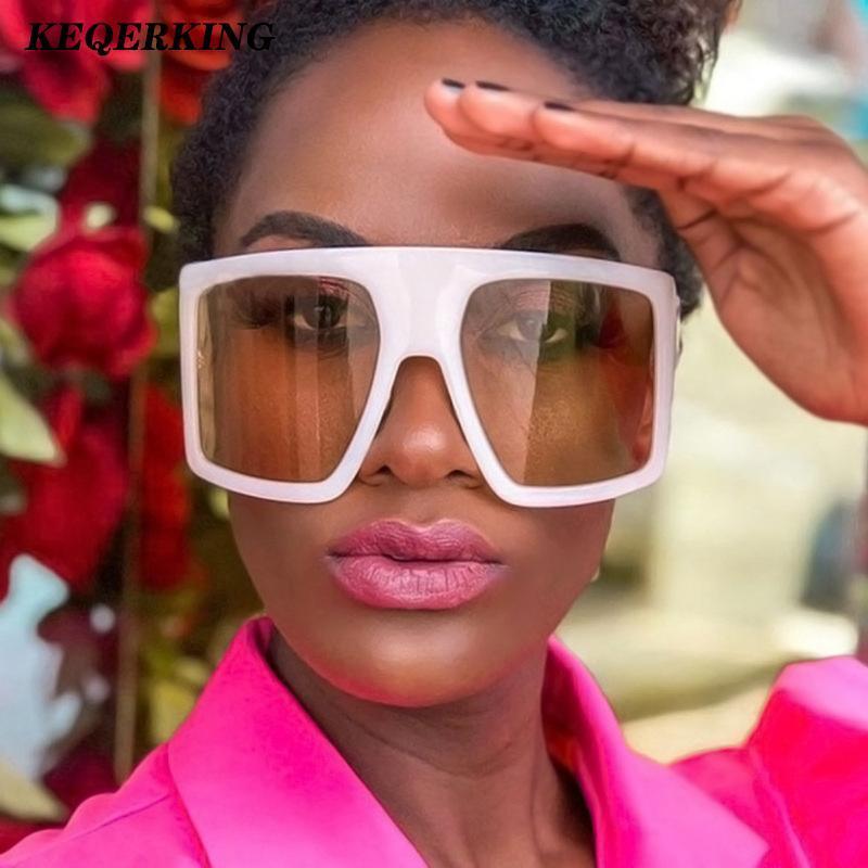 2020 Newest Diseño Big Frame Gafas de sol de gran tamaño Mujeres grandes planos planos gafas de sol de moda cuadrado de moda Sombras de gradiente fxcvt