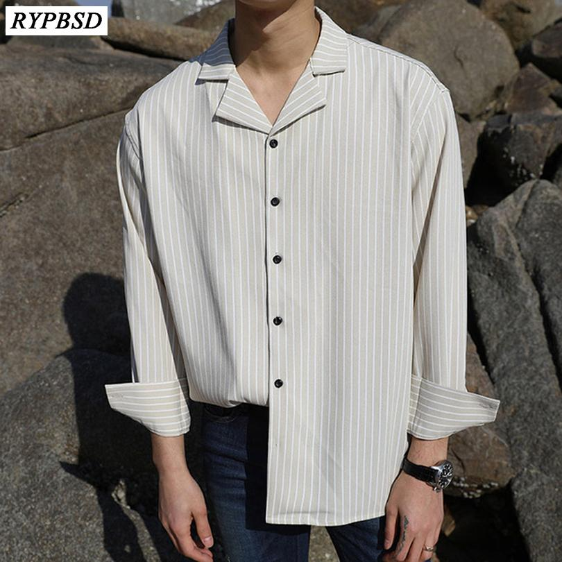 Полосатая рубашка мужчины с длинным рукавом бизнес случайный поворот вниз воротник однобортно-стритюна корейский свободное платье мужчин рубашка 2021 J1216
