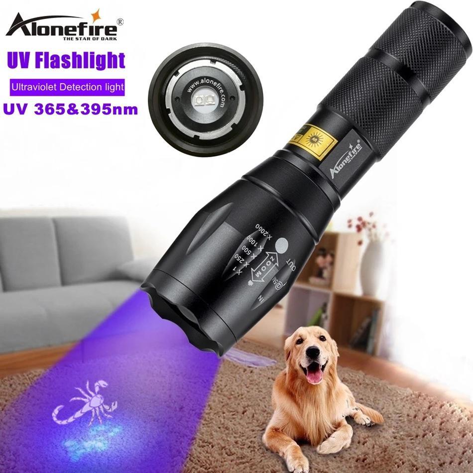 AloneFire A100 LED Tocha UV Lanterna UV Dupla LEDs 365NM 395NM Ultra Violeta Tochas Luz Para De acordo com Âmbar Escorpiões de Escorpiões Animal Urine Test