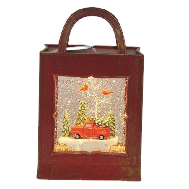 장식 크리스마스 픽업 트럭 패션 핸드백 LED 조명, 음악, 플레이크 휴일 스노우 랜턴 글로브 장식