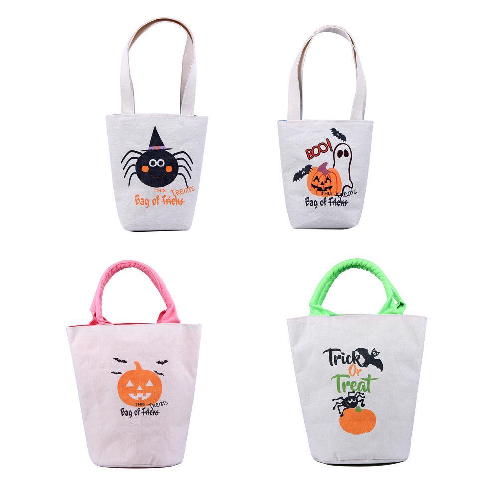 Tote Kinder Erwachsene mit Treat Oder Tasche Leinwand Trick Wiederverwendbar 4 teile / set Tasche für Süßigkeiten Geschenke Lebensmittelgeschäft Halloween Einkaufen für Gefälligkeiten Griffe RRA3 OLMF