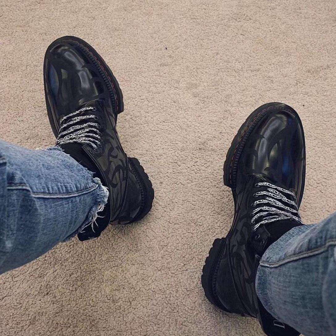 الرجال التمهيد الكاحل الأحذية مارتن جلد العجل المدربين جودة عالية الأسود براءات أحذية جلدية أزياء في الهواء الطلق أحذية، فاخر أعلى جودة قطع قصيرة