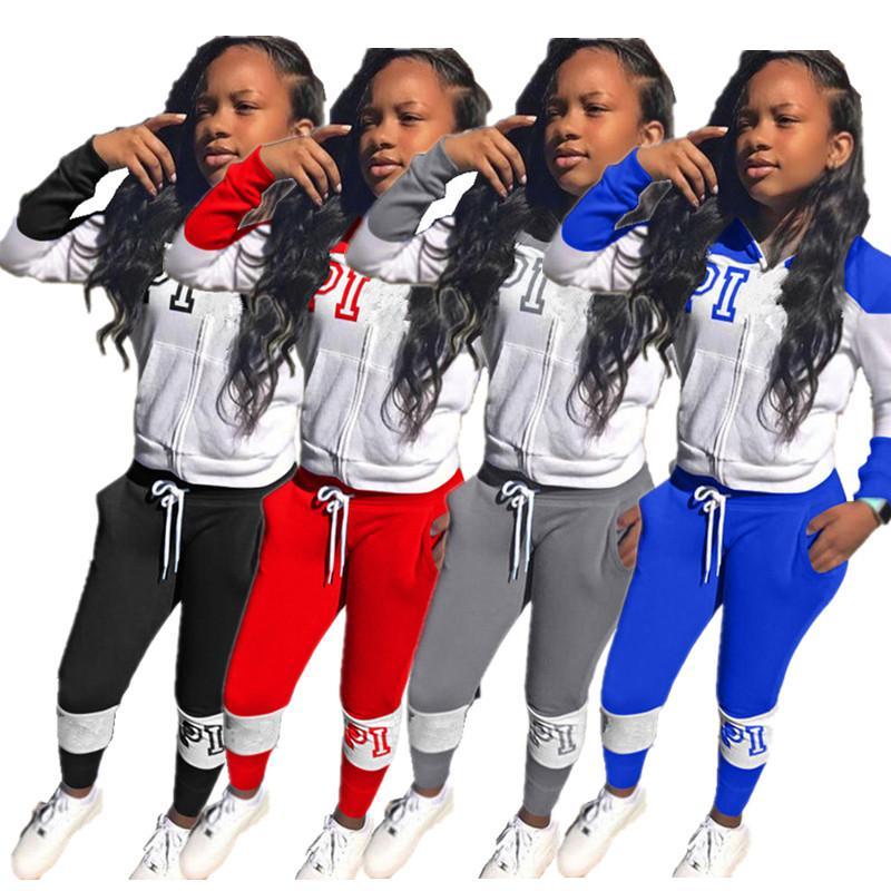 Brief-Druck-Frauen Anzug Fashion Langarm Zipper T-Shirt Tops + Pants Leggings Zweiteiler Herbst Outfits lässige Sportswear-Klage