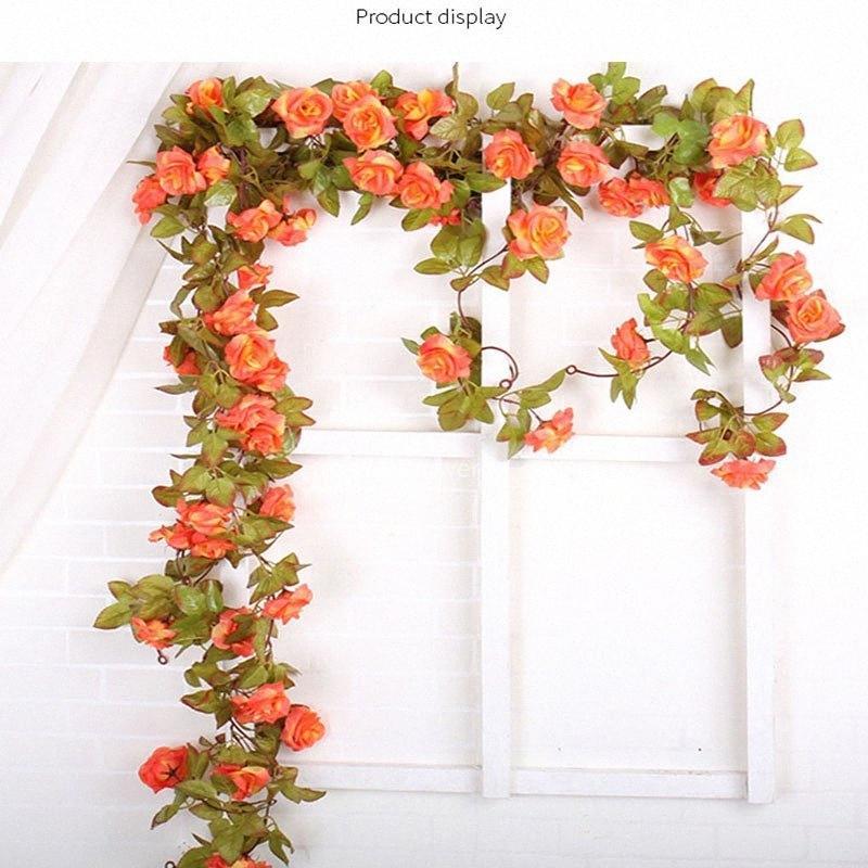 Hanging floreale Rattan Per Wedding Festival festa a casa della decorazione del giardino 227cm seta artificiale della vite del fiore xBaA #