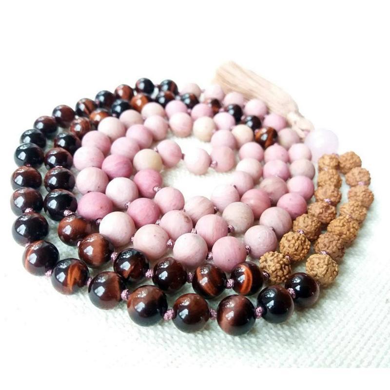 8 mm Matte Rhodonite Red Tiger Eye et Rudraksha Mala Seeds Collier 108 Mala Perles noueuse Tassel Collier Bijoux méditation