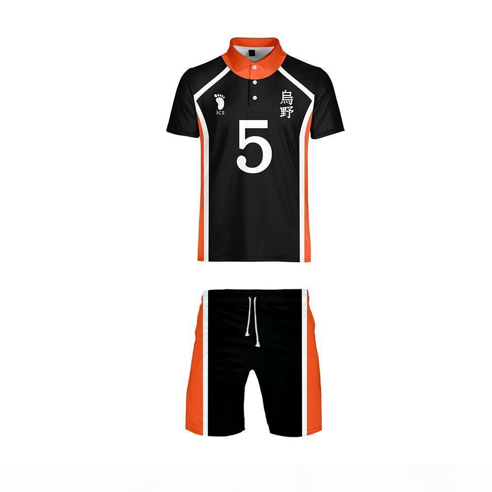 Anime Haikyuu Cosplay Costume Karasuno High School Voleibol Clube T-shirt e Shorts Outfit Casual Sportswear Jerseys uniforme