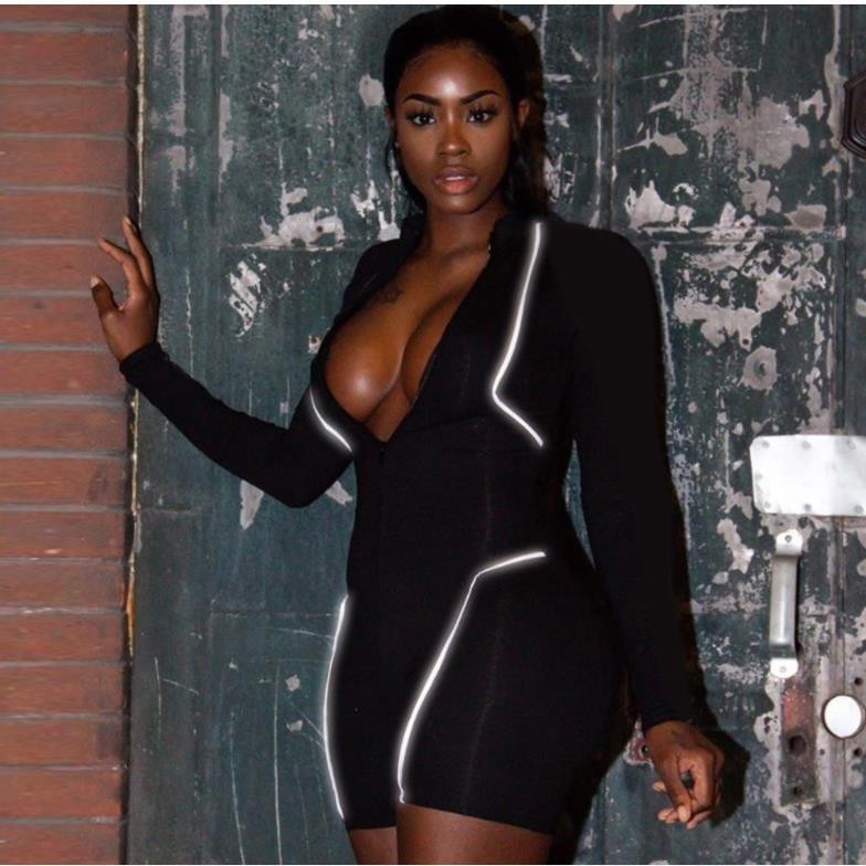 4dcYS fermeture éclair été épissage contre lumineuse à manches longues d'une seule pièce nouveau costume serré occasionnel fermeture à glissière pour les femmes whEGa
