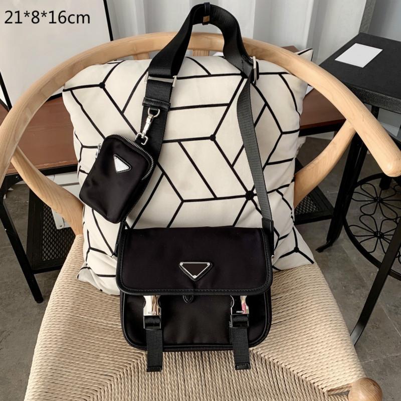 2021 مصممون رجالي حقائب الرجال crossbody الفاخرة حقائب ماركة نايلون رسول مغلف حقيبة الأزياء المحافظ كتف واحد مع مثلث PD20122903