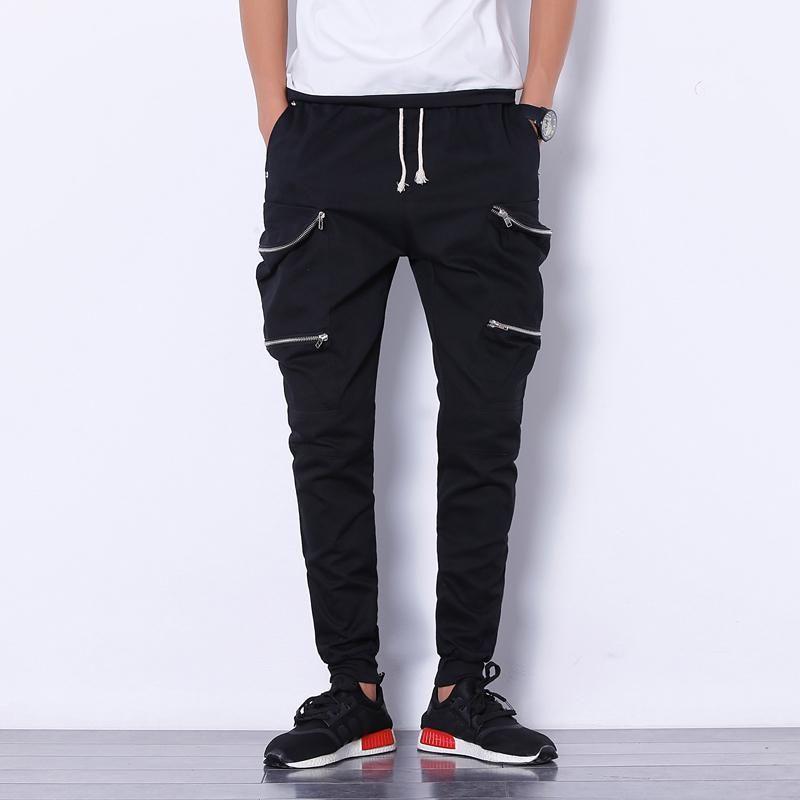 Pantaloni da uomo Nizza estate hip hop uomini multi-tasche Zippers harem joggers mens casual solido streetwear