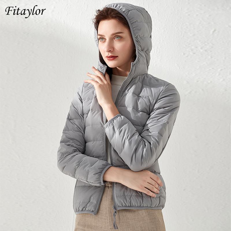 Fitaylor 2020 Sonbahar Kış Kadın Ultra Işık Kısa Aşağı Ceket 90% Beyaz Ördek Aşağı Parkas Kapüşonlu Ince Fermuar Kar Ceket Dış Giyim1