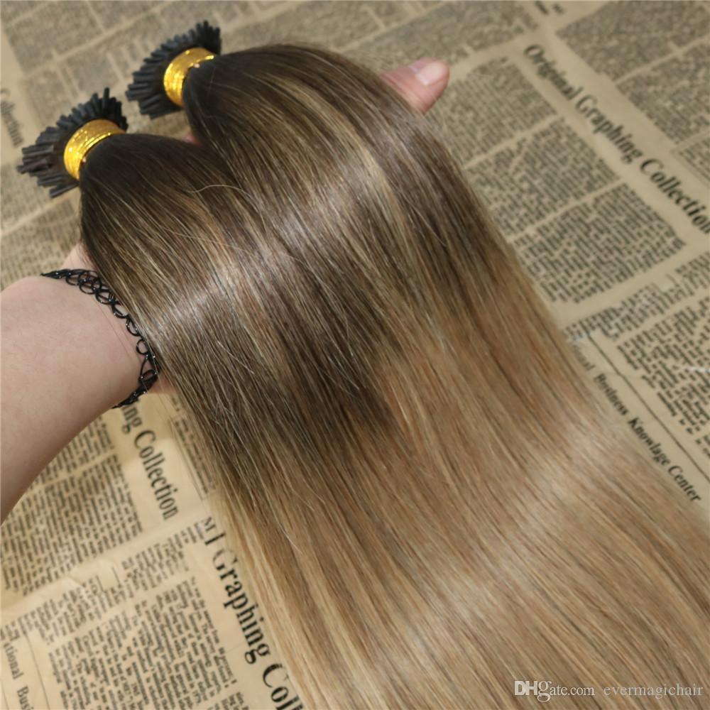 Balayage الشعر البشري أنا طرف ملحقات omber # 2 يتلاشى إلى # 12 أنا نصيحة الاندماج prebonded الشعر ملحقات عصا الكيراتين أنا نصيحة الشعر 100 جرام