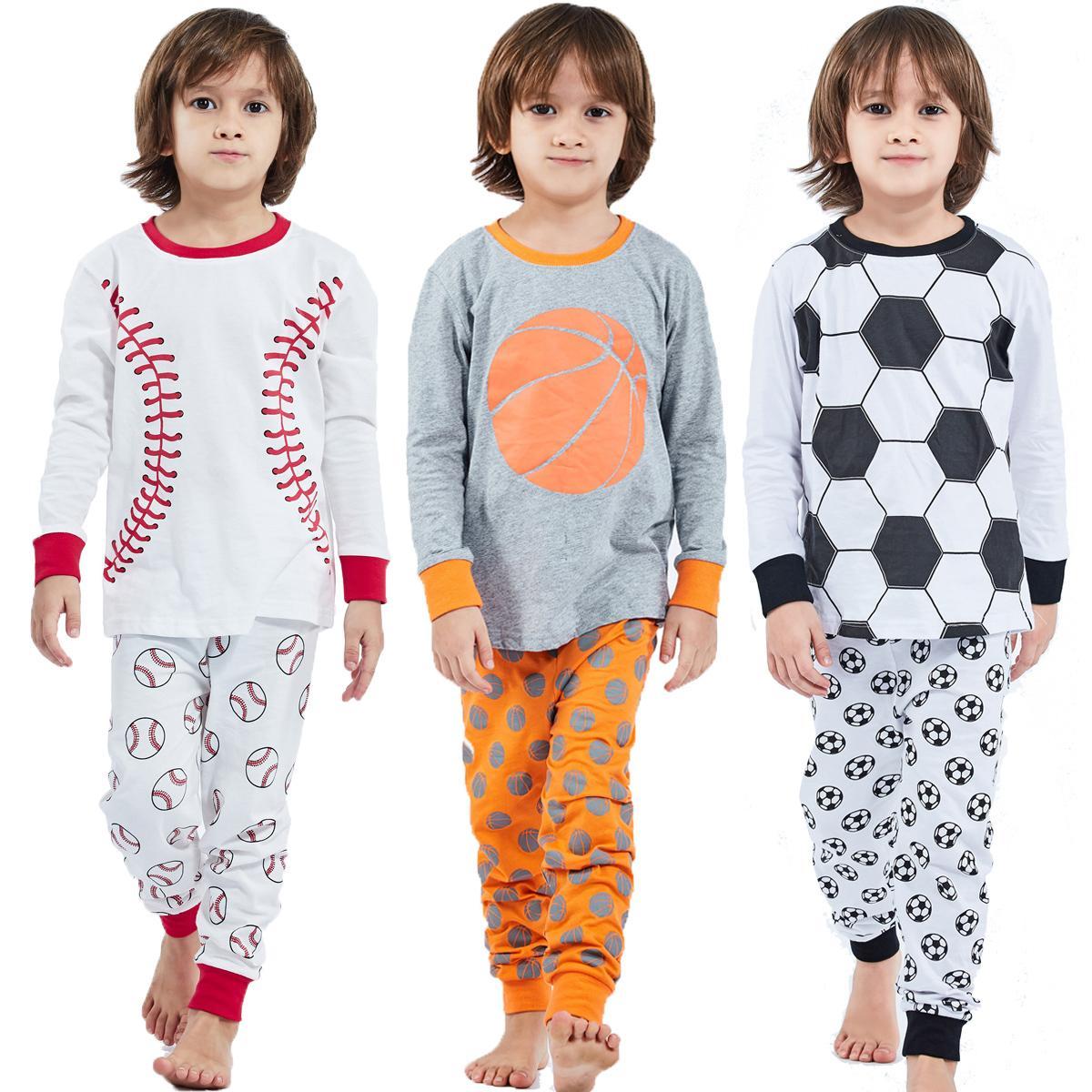 Pajamas дети мальчик одежда набор 100% хлопчатобумажные детские пижамы пижамы пижамы детский малыш спортивный баскетбол зима PJS 201225