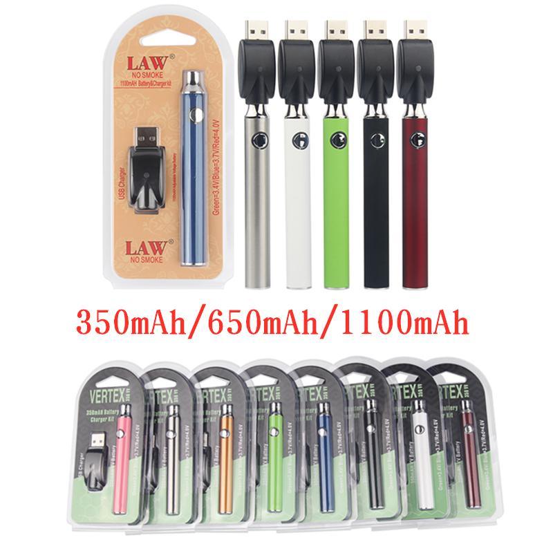 버텍스 vape 배터리 350 650 1100 mAh USB 충전기 키트 510 스레드 예열 기화기 배터리 전자 담배 vv 분무기 카트리지