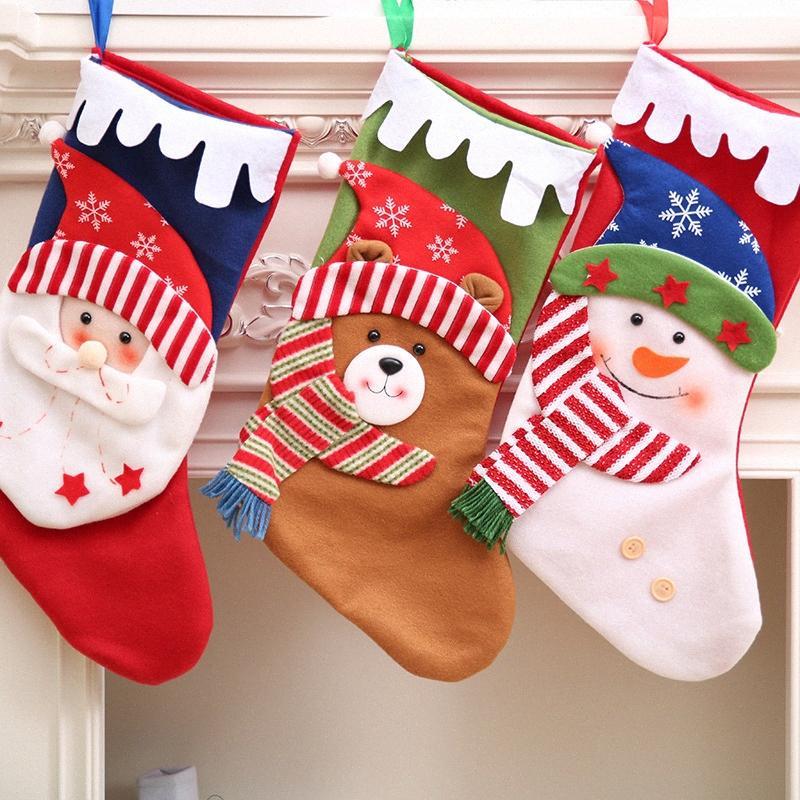 Санта снеговика подарка Держатели для хранения сумка Подвеска рождественской елки Главная Декор Новый год чулки носки украшения украшения Xmas 62437 negz #