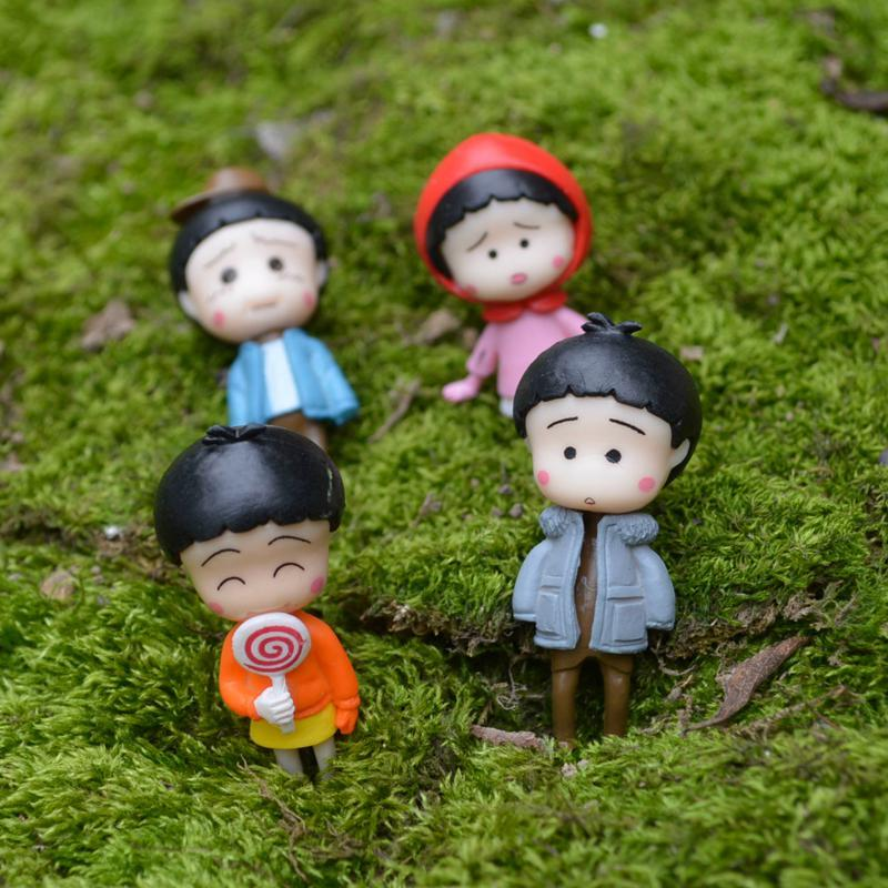 4 개 애니메이션 꼬마 마루코 -Chan 요정 정원 미니어처 지 공예 테라리움 인형 Baison 인형 집 장식 여자 장난감 DIY의 피규어