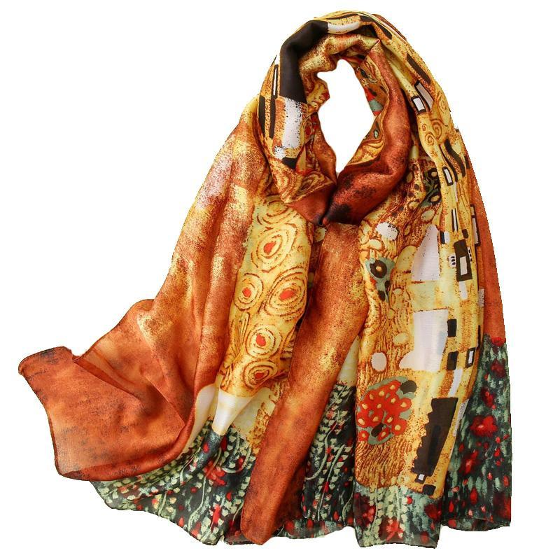 Gustav Klimt 유화 실크 스카프 여성 실크 목도리 디자이너 Der Kuss 풀라우드 Femme 여름 해변 새로운