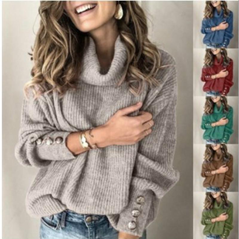 Свитера для женщин Женская водолазка свитер зимы женщин плюс размер 5XL Jumper с помощью кнопок Урожай свитер