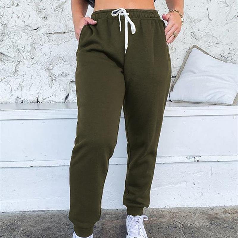 Женщины повседневные свободные эластичные талии фитнес брюки сплошные цветные спортивные штаны мешковатые лодыжки свободные зимние брюки
