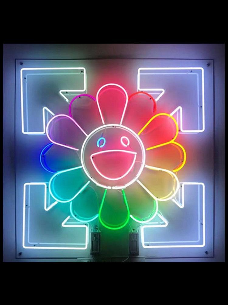 işareti simgesel İşaret duvar işaretleri ışıkları kadar neon İşaretler The Sun güneş çiçek cam ışık ışık neon ışıkları neon Face Gülümseme