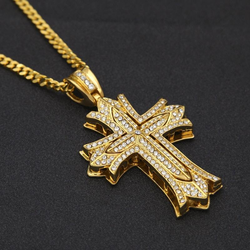 2020 Collana New Cross Fiore Mens oro di Cuba la catena a maglia della collana dei monili fuori ghiacciato Pendente Hip Hop
