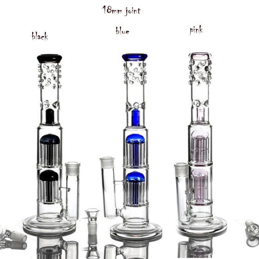 더블 트리 Perc 유리 물 봉지 물 담뱃대 머리띠가 흡연 흡연 물 파이프 18mm Shisha 연기 파이프 담배 Bubbler 재활용