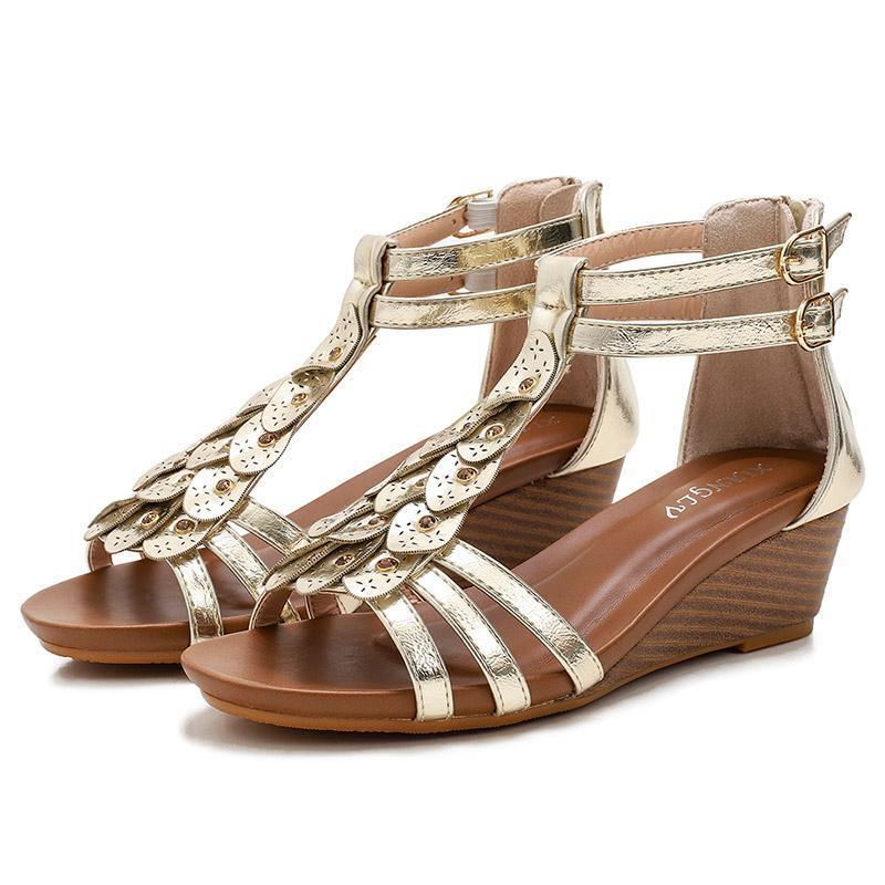 Sandali Scarpe estive Scarpe da donna Tacco alto Signore Metallo Texture in pelle morbida Design in pelle Pompe femmina di grandi dimensioni 36-42