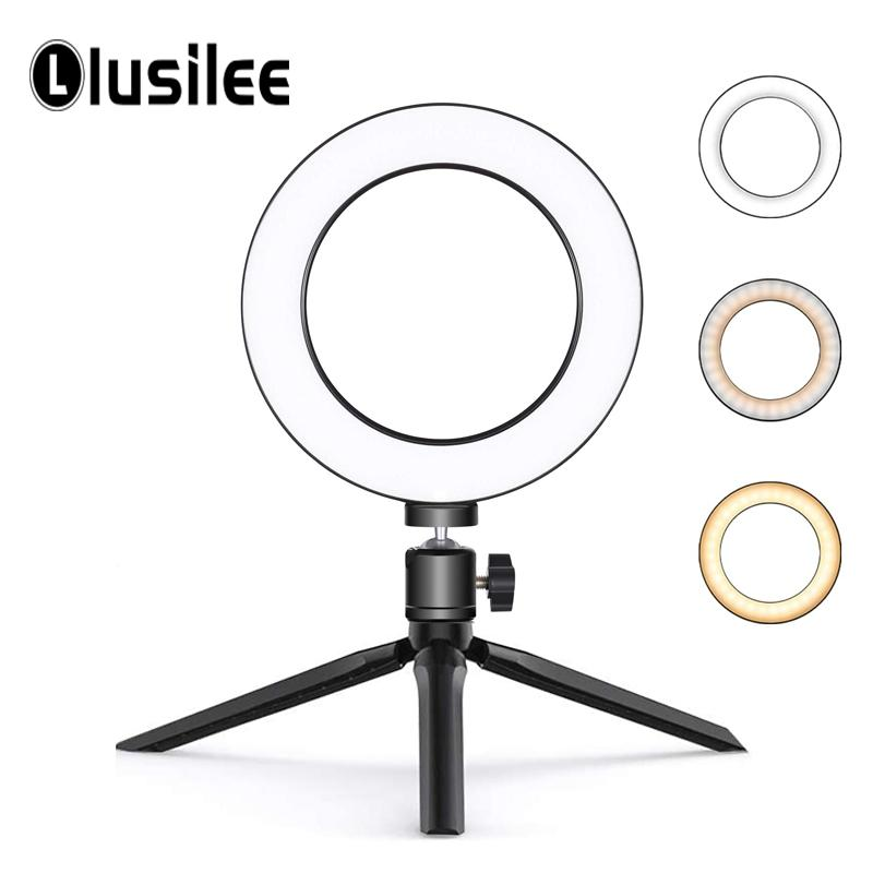 6inch Mini Desktop Ring Lamp LED Video Ring Light Selfie Lamp with Tripod Stand USB Plug for YouTube Live Photo Photography