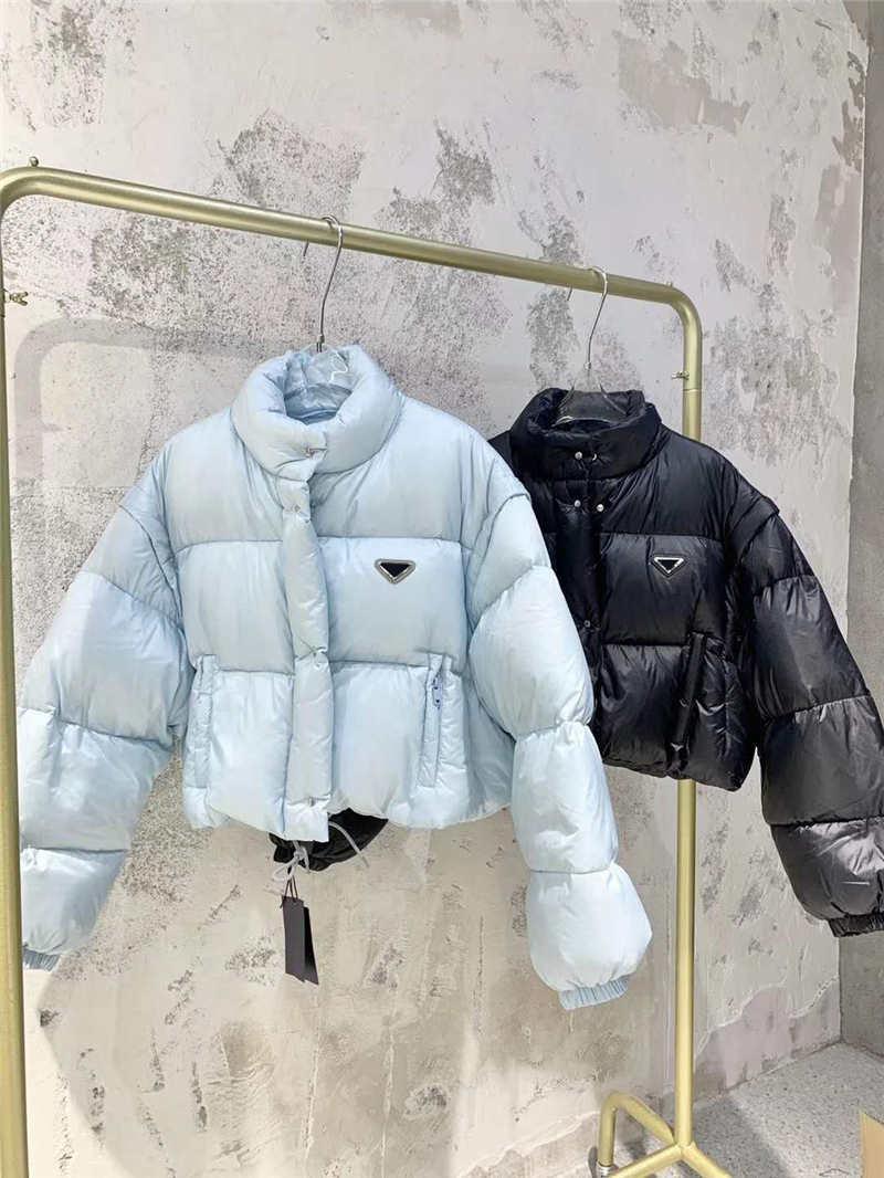 【code:OCTEU03】Damen-Daunen-Parkas-Jacke dicker warmer Windjacke für Dame Slim Jacken Winter-Outwears mit Buchstaben Budge schwarze und blaue Mäntel Downs