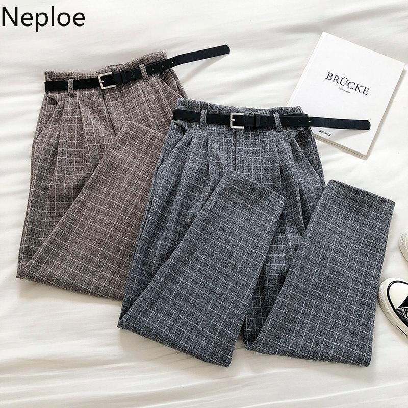 Naploe Vintage Ekose Sweatpants Kadınlar 2020 Kore fahsion Düz Kemer Pantolon 4F360 ile Giysiler Yüksek Bel Casual Pantolon Güz