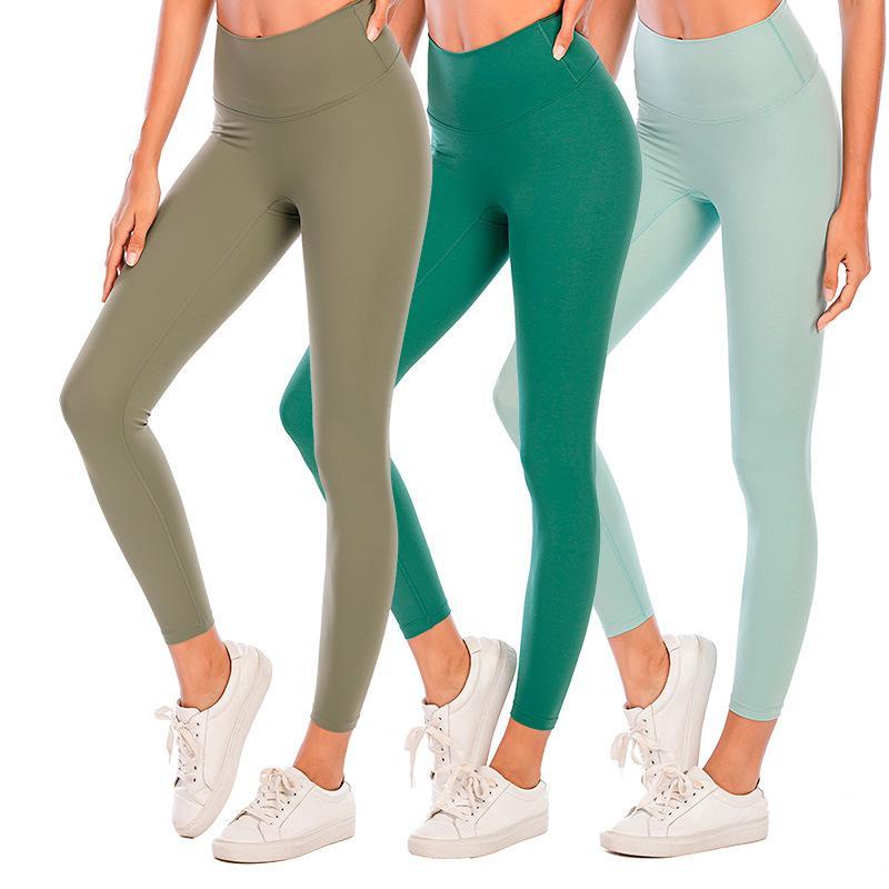 솔리드 컬러 여성 요가 바지 높은 허리 스포츠 체육관 착용 레깅스 탄성 피트니스 레이디 전체 전체 스타킹 운동 로고