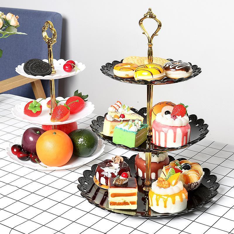 Basamento della torta del piatto di frutta Dessert Rack di stoccaggio di verdure 3 Stand Tier a tre strati Attrezzo da cucina Home CNY2350