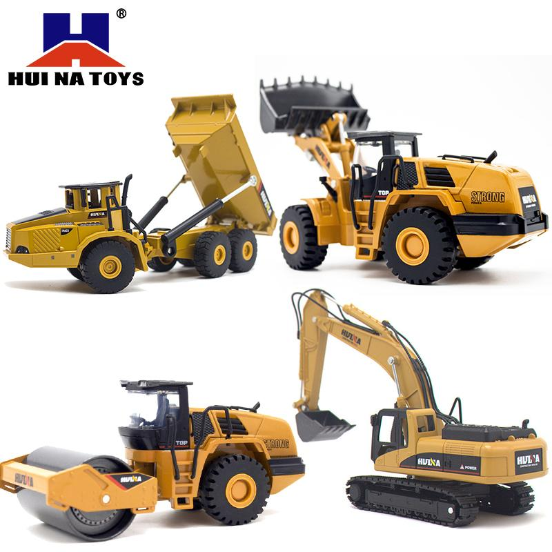 HUINA 1:50 dump truck excavator Wheel Loader Diecast Metal Model Construction Vehicle Toys for Boys Birthday Gift Car Collection LJ200930
