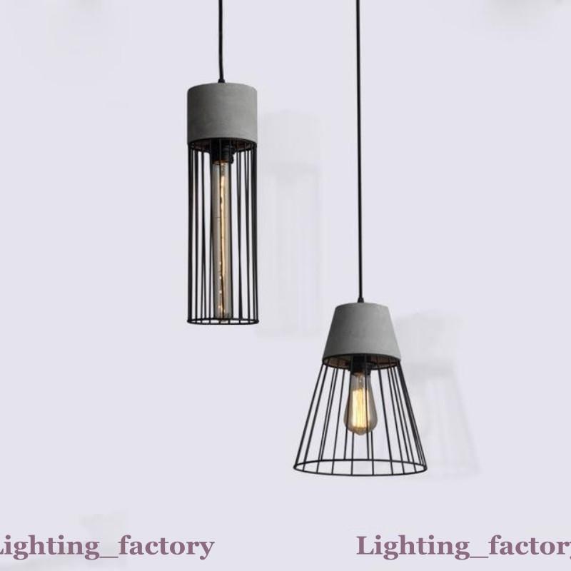 Post Modern Hanging Cemento Calcestruzzo lampada a sospensione contemporanea Luci del pendente Caged ferro battuto nero apparecchio di illuminazione Edison