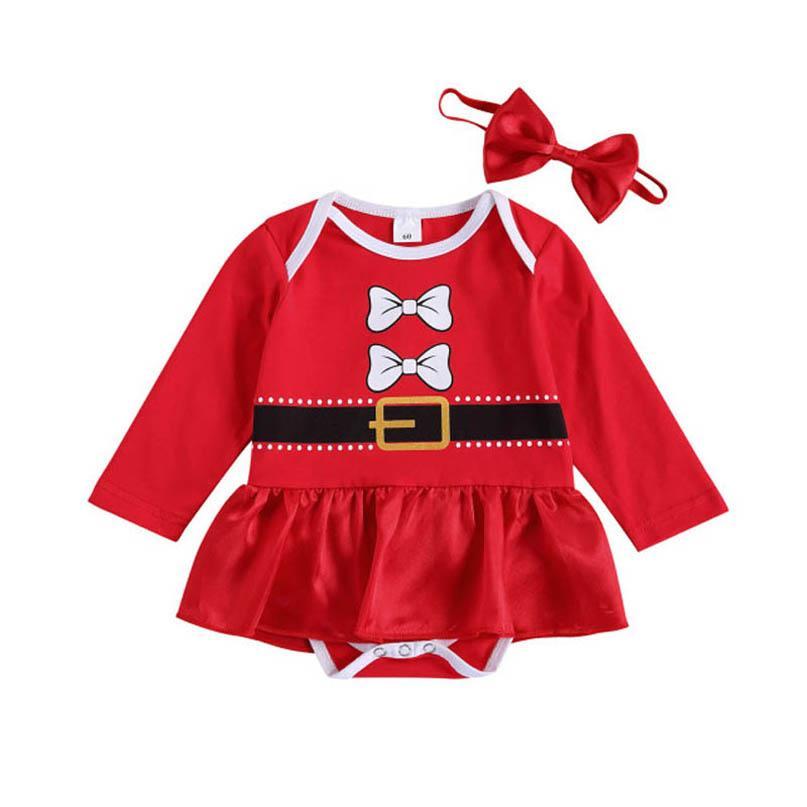 Ins 2020 Natal bebê bebê vestido + bowknot headbands 2 pçs / set algodão meninas romper recém-nascidos macacões infantil uma peça roupas b3313