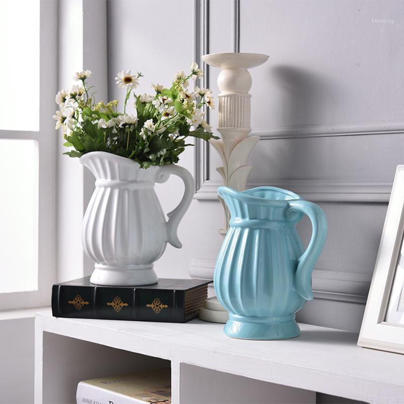 Nordic Ретро Чайник Форма Керамическая Ваза Белая керамическая Ваза Цветок Главная Свадебное Украшение Высушенный Искусственный Цветочный Декор J1