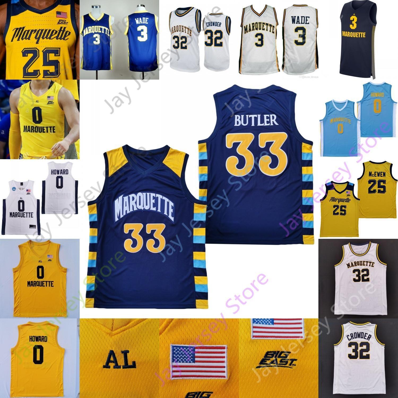 NCAA 2020 Custom Marquette Basketball Jersey NCAA College Greg Elliott Theo John Jamal Kain Morrow Bailey Crowder Matthews Igelodaro John