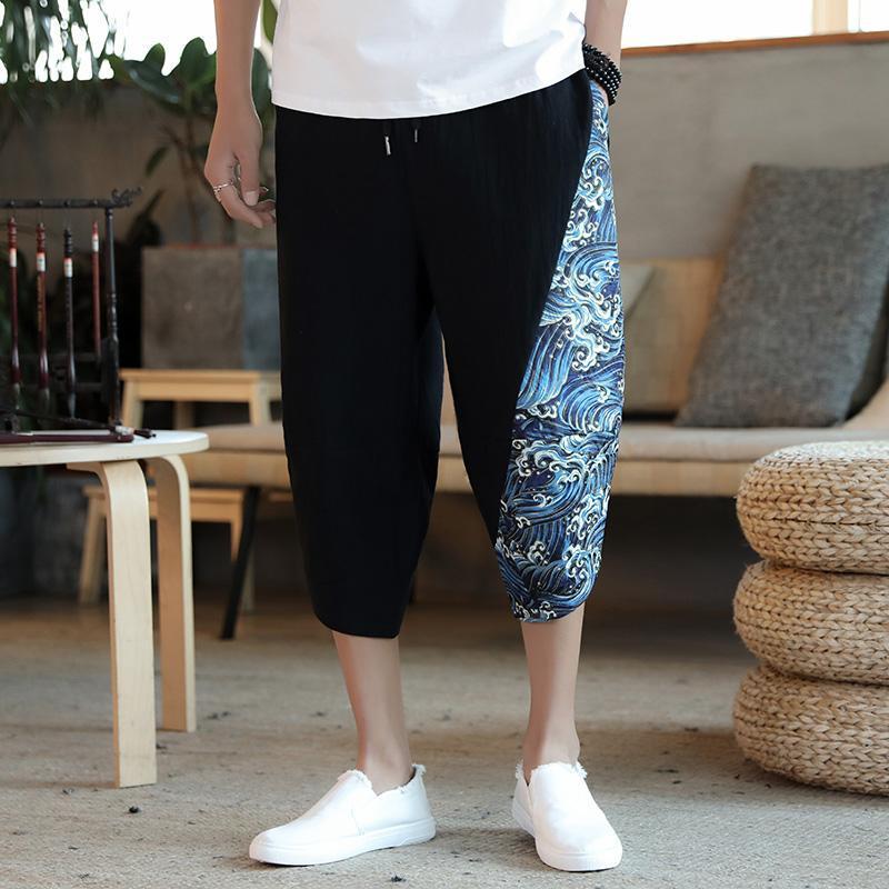 Мужские штаны 2021 Мужчины традиционные летние Большой размер Повседневная теленка Печать Лоскутная Свободная мужская Мода Брюка Улица