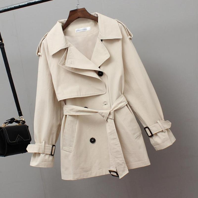 Women's Trench Coats 2021 Women Short Spring Windbreaker Casual Loose Clothes Fashion Stand Collar Drawstring Female Coat