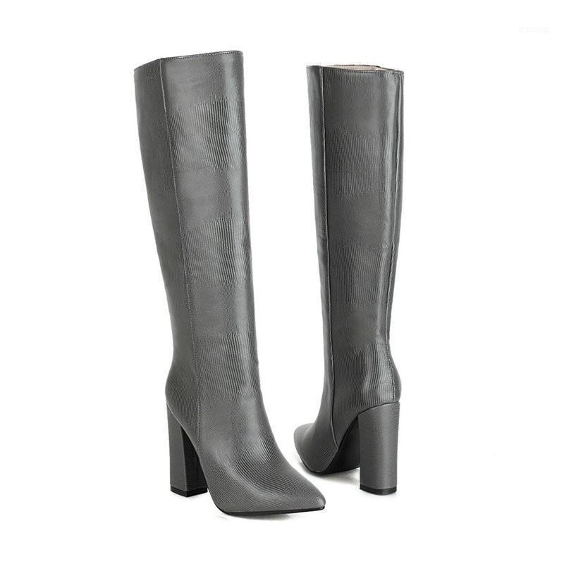 Bottes sexy femmes genou haut pointu orte cuir automne hiver western talky talon élégant long femme chaussure1