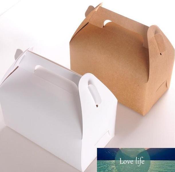 30pcs / lot papel Kraft Pastel de caja con la manija, cuadro de la magdalena marrón con ventana, boda de la caja de cartón galletas dulces pastel de papel blanco