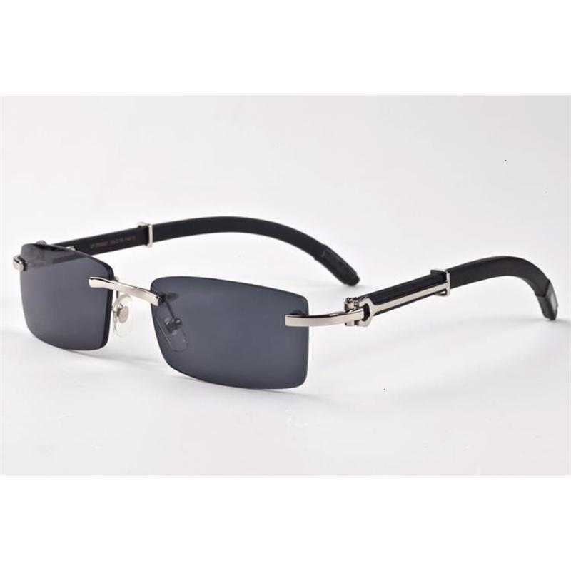randlos Luxus-Markendesigner für Männer-Mode Holz Bambus retro Büffelhornbrille braun schwarz Klarglas-Objektiv-Sonnenbrille billiger