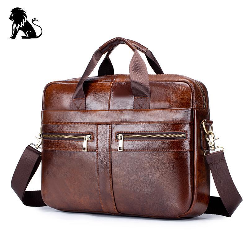 HBP business Genuine men's Briefcase vintage cow leather computer messenger bags man shoulder bag postman male Q0112
