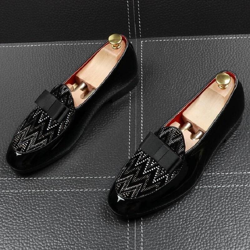 Mode Hommes Arc noir avec strass Chaussures plates Homme Designer de soirée de mariage formelles chaussures d'affaires Prom DA05