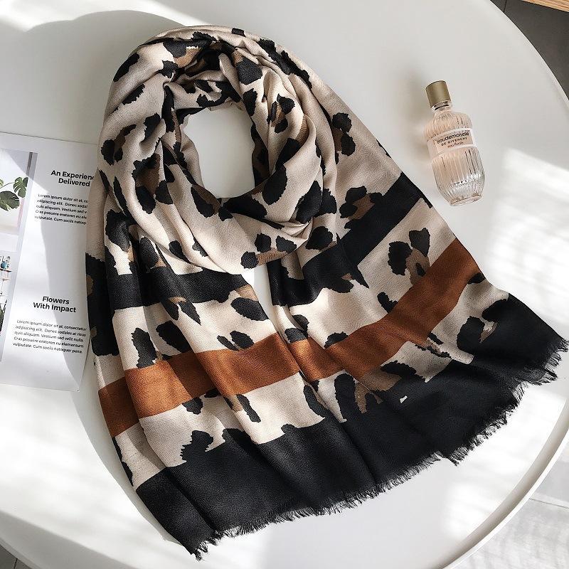 Manta impresa leopardo atractivo viscosa bufanda del mantón de las mujeres de moda otoño invierno Bufandas estola del abrigo musulmán Hijab