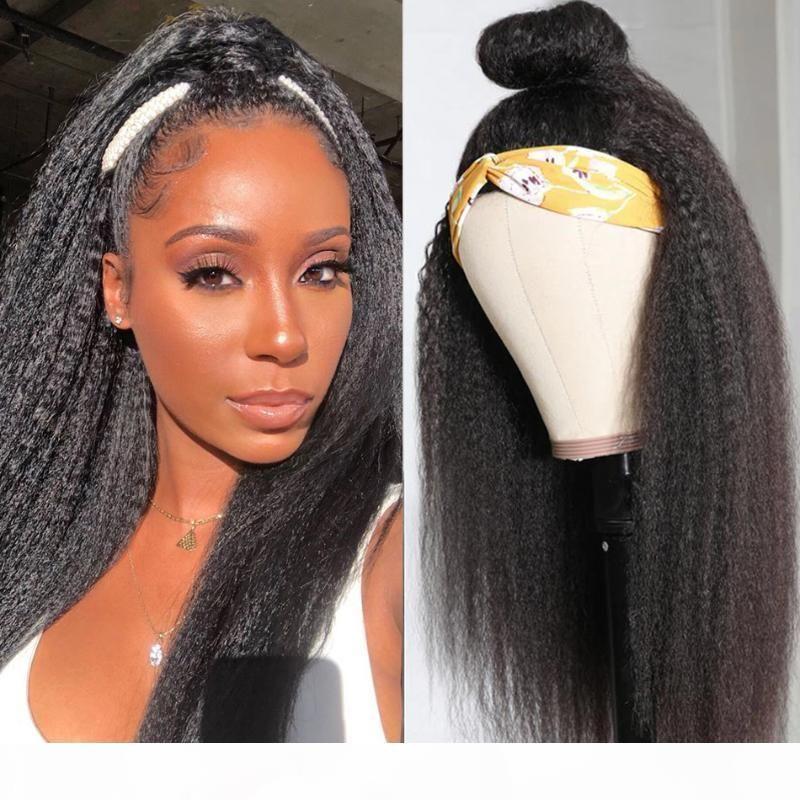 Peluca de cabello humano recto rizado con diadema 150% Máquina completa Máquina media peluca Diadema brasileña Remy Pelo humano 8-26 pulgadas