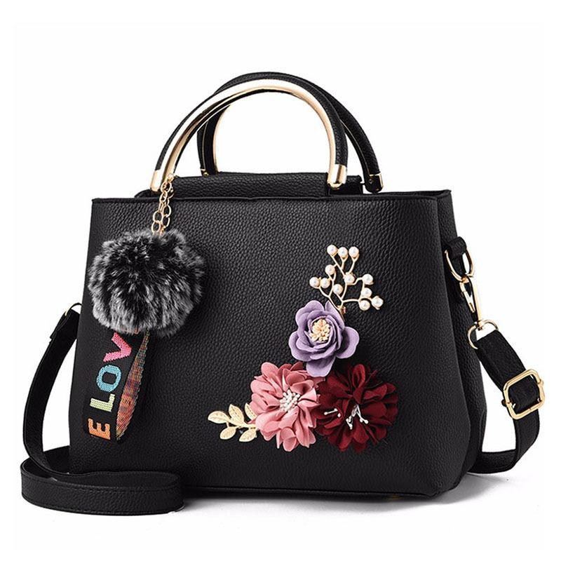 Fashion Flowers Designer Pu Leather Crossbody Bags for Women Vintage Small Shoulder Handbags Female Casual Top-Handle Q1230