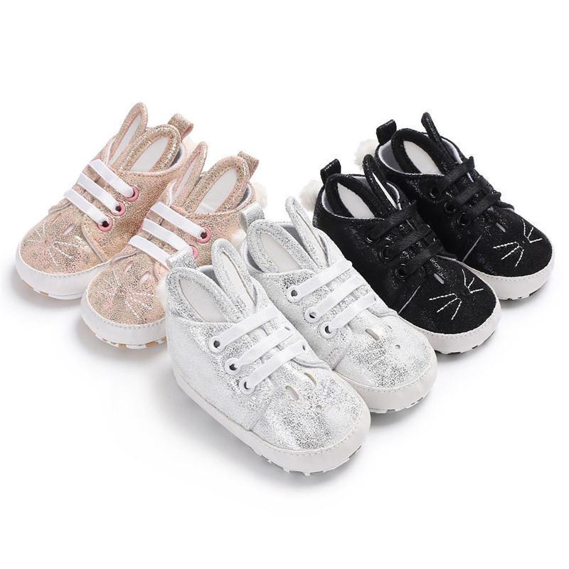 2020 Mode Nouveau-nés tout-petits bébés filles de garçon Oreilles molles Sneaker bébé Chaussures de sport tout-petits d'abord Walkers Chaussures