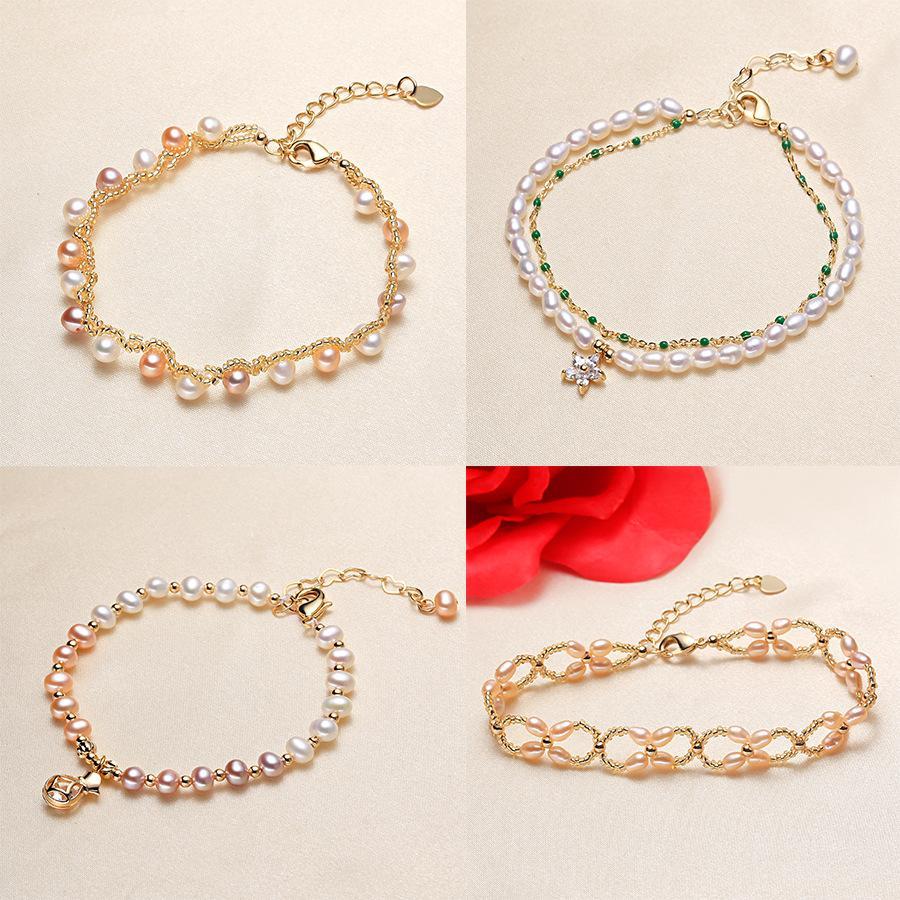 Aiyanishi мода натуральные пресноводные жемчужные браслеты ювелирные изделия Connect Party 14K золотой асфальтированный кубический Zircon Charm Bracte для женщин Girlt подарок