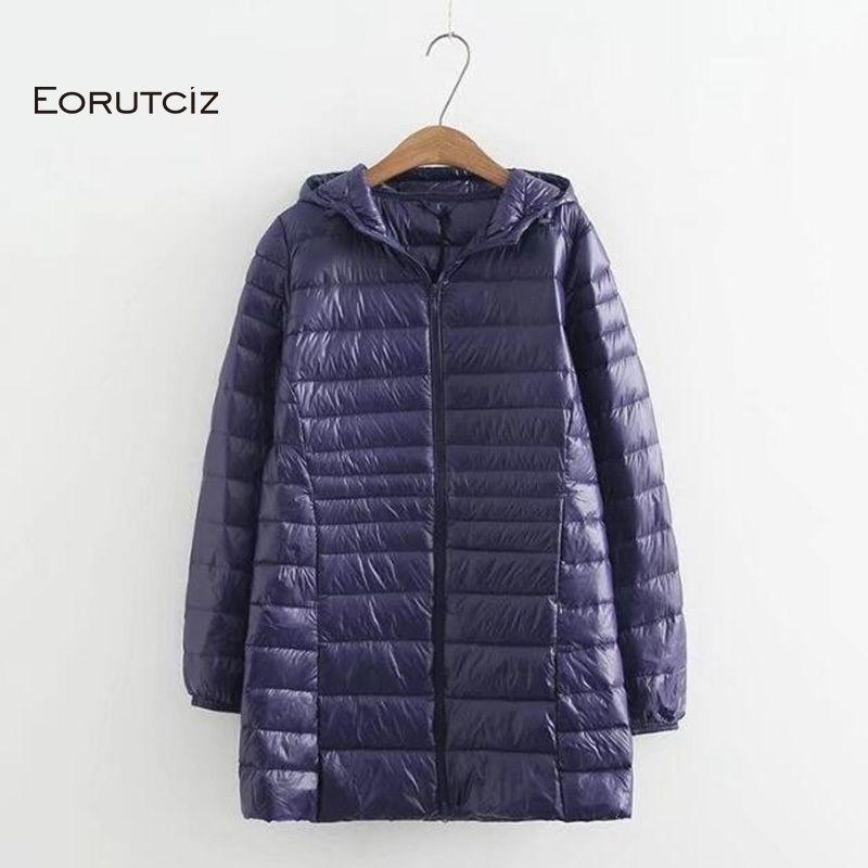 EORUTCIZ Winter Long Down Coat Women Plus Size 7XL Ultra Light Hoodie Jacket Vintage Warm Black Autumn Duck Down Coat LM143 200923