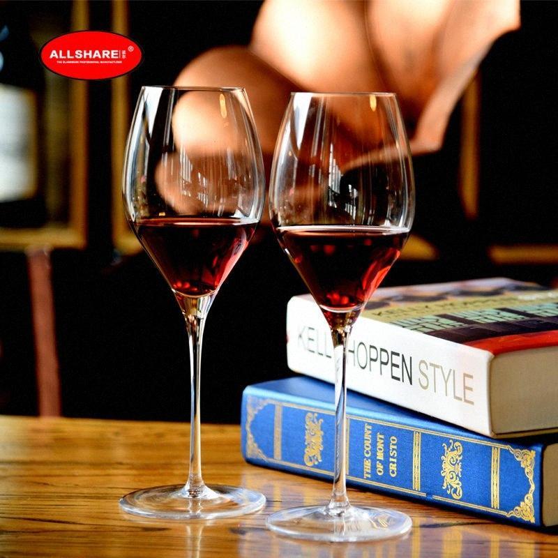set Il trasporto libero di alta qualità 2pcs di cristallo senza piombo bicchieri di vino rosso vino rosso nozze bicchieri 450ml / 15,2 oz BRMw #